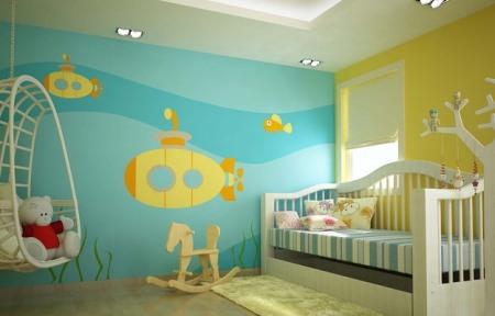 phòng-ngủ-cho-bé-màu-xanh-la-cay